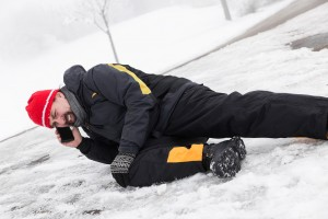 Fallen man on ice